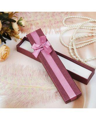 """Коробочка подарочная под браслет/часы/цепочку """"Благородность"""", 21*4 (размер полезной части 3,8х20,3см), цвет бордовый арт. СМЛ-1283-1-СМЛ1444169"""