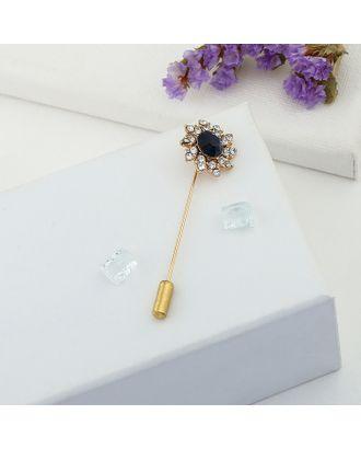 """Булавка """"Цветок"""" королевский, 5,6 см, цвет сине-белый в золоте арт. СМЛ-20497-1-СМЛ1461999"""