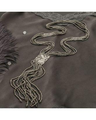 """Колье """"Водопад"""" бисер, цвет чёрный арт. СМЛ-28752-2-СМЛ1462144"""