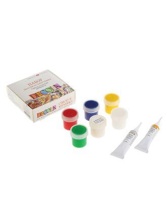 Набор красок по стеклу и керамике Decola: 5 цветов х 20 мл, 2 контура х 18 мл, разбавитель арт. СМЛ-1386-1-СМЛ1512834