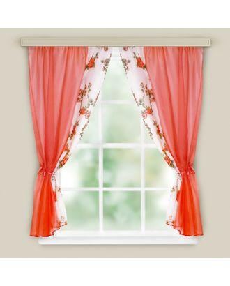 Комплект штор для кухни «Арина», цвет красный вуаль, однотонная вуаль-печать, принт микс, 240х160, п/э арт. СМЛ-34440-1-СМЛ1549228