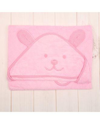 Уголок махровый с капюшоном и вышивкой, цвет розовый, размер 90х90 см арт. СМЛ-34216-1-СМЛ1620193