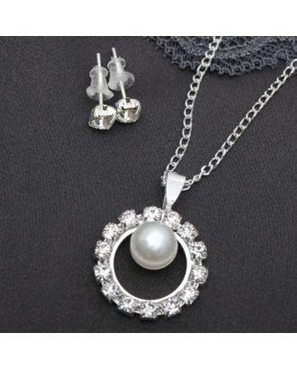 """Гарнитур 2 предмета: серьги, кулон """"Невесомость"""", круг с бусиной, цвет белый в серебре арт. СМЛ-20533-1-СМЛ1641165"""