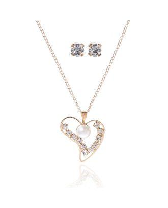 """Гарнитур 2 предмета: серьги, кулон """"Невесомость"""", сердечко, цвет белый в золоте, 45см арт. СМЛ-20535-1-СМЛ1641168"""