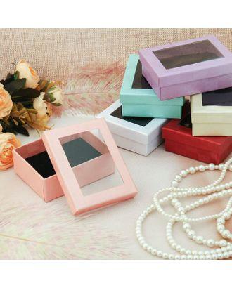 Коробочка подарочная под набор, с прозрачным верхом, 6,5*8,5 (размер полезной части 6,4х8,4см), цвет МИКС, вставка чёрная арт. СМЛ-1800-1-СМЛ1641235