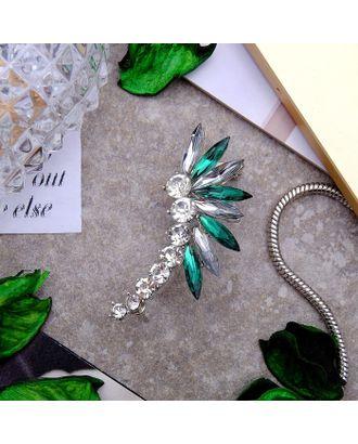 """Серьга """"Каффа"""" лучи, цвет бело-зелёный в серебре арт. СМЛ-1859-1-СМЛ1678467"""