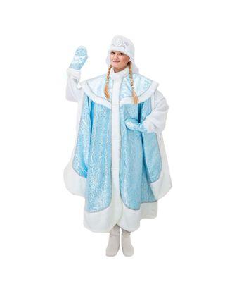 """Карнавальный костюм """"Снегурочка"""", боярская шуба, шапка, варежки, р-р 44-48, рост 170 см арт. СМЛ-43946-1-СМЛ0001694646"""