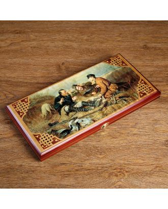 """Нарды """"Охотники на привале"""", деревянная доска 40х40 см, с полем для игры в шашки арт. СМЛ-110208-1-СМЛ0000172653"""