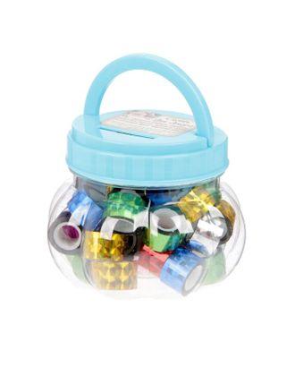 """Клейкая лента пластик в банке """"Голография"""" (набор 40 шт) цвета МИКС 1,2смх2,8м 7,5х8,5х8,5см арт. СМЛ-2001-1-СМЛ1784655"""