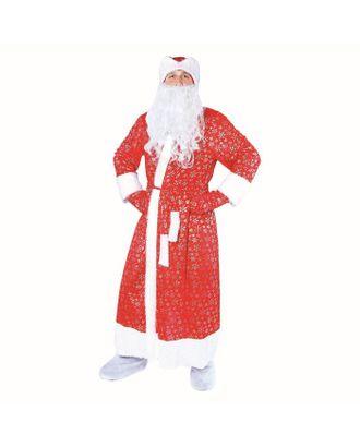 """Карнавальный костюм """"Дедушка Мороз"""", шуба с кудрявым мехом, шапка, варежки, борода, р-р 52-54, рост 185 см арт. СМЛ-95793-1-СМЛ0001797841"""