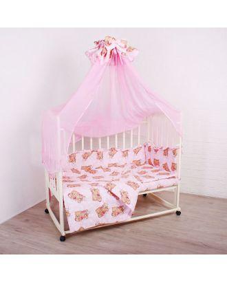 """Комплект в кроватку """"Спящие мишки"""" (5 предметов), цвет розовый 515/1 арт. СМЛ-22082-1-СМЛ1840002"""