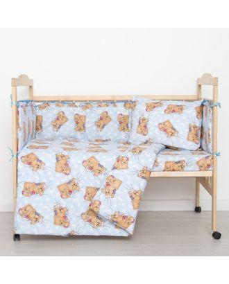"""Комплект в кроватку """"Спящие мишки"""" (6 предметов), цвет голубой 615/1 арт. СМЛ-28976-1-СМЛ1840004"""