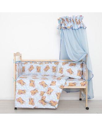 """Комплект в кроватку """"Спящие мишки"""" (7 предметов), цвет голубой 715/1 арт. СМЛ-32747-1-СМЛ1840007"""