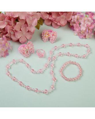 """Набор детский """"Выбражулька"""" 5 предметов: 2 резинки, бусы, браслет, кольцо, бантики, цвет розовый арт. СМЛ-124868-1-СМЛ0001884131"""