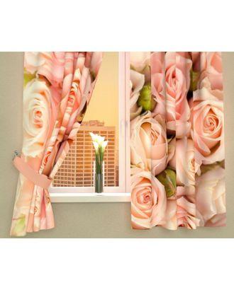 """Фотошторы кухонные """"Молодые розы"""", размер 145х160 см-2 шт, габардин 02365 арт. СМЛ-2276-1-СМЛ1920599"""