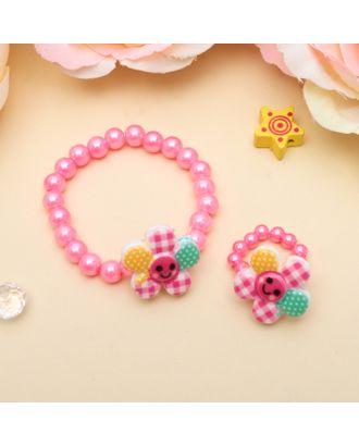 """Набор детский """"Выбражулька"""" 2 предмета: браслет, кольцо, цветочки веселые, цвет МИКС арт. СМЛ-2328-1-СМЛ1929839"""
