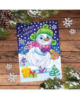 Новогодняя аппликация перьями и стразами «Снеговик» арт. СМЛ-120441-1-СМЛ0001973386