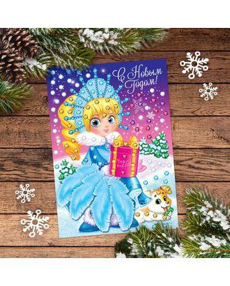 Набор для творчества. Новогодняя аппликация перьями и стразами «Снегурочка» 14,8 х 21 см арт. СМЛ-120442-1-СМЛ0001973388