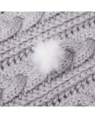 Помпон из натурального меха норки, размер 1 шт: 2,5 см, цвет белый арт. СМЛ-40965-1-СМЛ0001999240