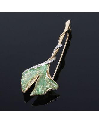 """Брошь """"Вакстер"""", цвет зелёный в золоте арт. СМЛ-20440-1-СМЛ1999753"""