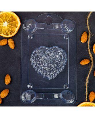 """Пластиковая форма для мыла """"Сердце в розах"""" арт. СМЛ-27594-1-СМЛ2007129"""
