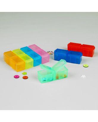 Контейнеры для рукоделия, 7 шт по 2 отделения, 17,3х7,5х2,5 см, разноцветные арт. СМЛ-2649-1-СМЛ2067118