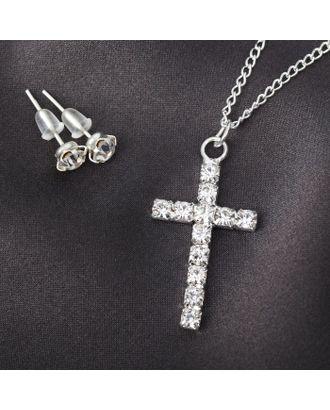 """Гарнитур 2 предмета: серьги, кулон """"Крестик"""", цвет белый в серебре арт. СМЛ-20537-1-СМЛ2098354"""