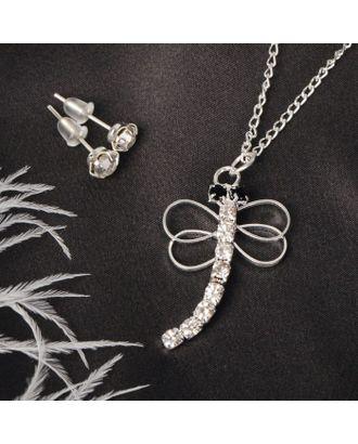 """Гарнитур 2 предмета: серьги, кулон """"Стрекоза"""", цвет белый в серебре арт. СМЛ-20539-1-СМЛ2098360"""