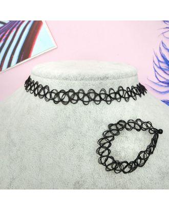 """Набор 2 предмета: чокер, браслет """"Классика"""", цвет черный арт. СМЛ-2989-1-СМЛ2098564"""