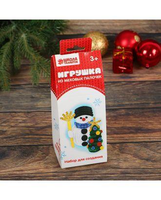 """Новогодняя мягкая игрушка из меховых палочек """"Снеговик и елочка"""" арт. СМЛ-3030-1-СМЛ2099688"""