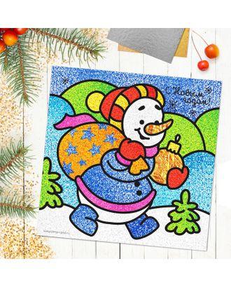 """Новогодняя фреска блёстками и фольгой """"С Новым годом!"""", снеговик, набор: песок 9 цветов, блёстки 2гр, стека арт. СМЛ-3139-1-СМЛ2109001"""