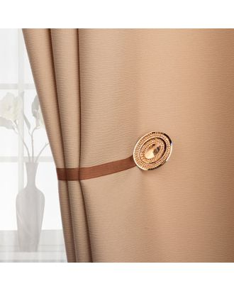 Подхват для штор «Блестящий овал», 4 × 5 см, цвет коричневый арт. СМЛ-28787-1-СМЛ0021253