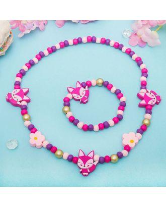 """Набор детский """"Выбражулька"""" 2 предмета: бусы, браслет, бабочки нежность, цвет бело-розовый арт. СМЛ-21430-4-СМЛ2132744"""