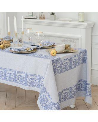 """Столовый набор """"Этель"""" (скатерть 150х200 см, салфетки 45х45 см - 6 шт.) цвет синий, хл. с ВМГО арт. СМЛ-19780-1-СМЛ2163202"""