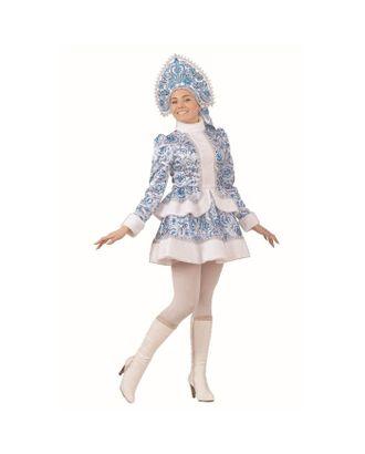 Карнавальный костюм «Снегурочка», голубые узоры, р. 44, рост 164 см арт. СМЛ-97059-1-СМЛ0002220179