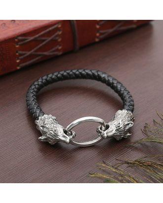 """Браслет мужской """"Равновесие"""" волк, цвет чёрный в чернёном серебре арт. СМЛ-3907-1-СМЛ2271061"""