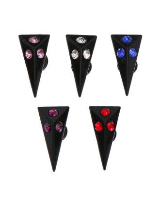 """Пирсинг """"Шип"""" треугольник со стразами, цвет черно-белый арт. СМЛ-21847-2-СМЛ2271074"""