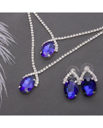 """Набор 2 предмета: серьги, колье """"Жаклин"""" дуэт, овал, цвет бело-синий в серебре арт. СМЛ-20554-1-СМЛ2271111"""