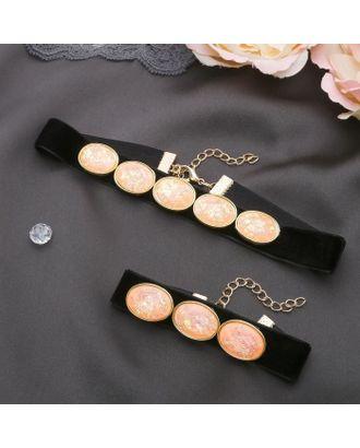 """Набор 2 предмета: чокер, браслет """"Жаклин"""" овалы, цвет чёрно-белый в золоте арт. СМЛ-20546-2-СМЛ2271173"""