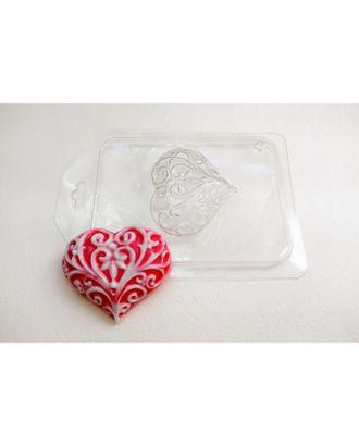 """Пластиковая форма для мыла """"Сердце узорное"""", 6х5,5 см арт. СМЛ-3963-1-СМЛ2283092"""