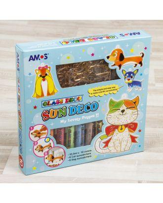 """Набор витражных красок с витражами """"Собаки и кошки"""": 10 цветов по 10,5 мл, 12 витражей арт. СМЛ-4229-1-СМЛ2311244"""