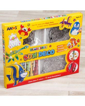 Набор витражных красок с мини витражами: 6 цветов по 10,5 мл, 18 витражей арт. СМЛ-25834-1-СМЛ2311504