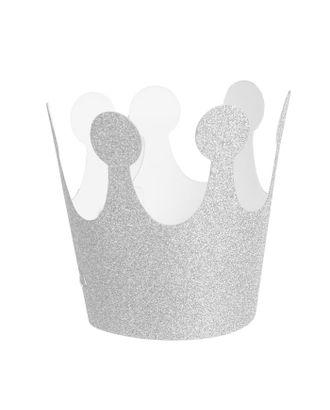 Карнавальная корона «Великолепие», на резинке, цвет серебряный арт. СМЛ-100696-1-СМЛ0002311662