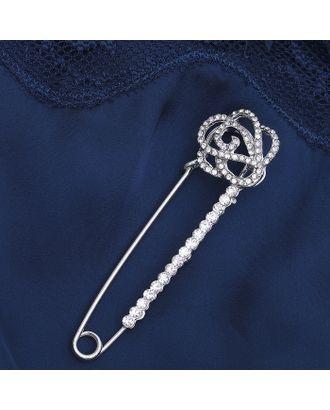 """Булавка """"Цветок роза"""", 7,5 см, цвет белый в серебре арт. СМЛ-20492-1-СМЛ2346677"""