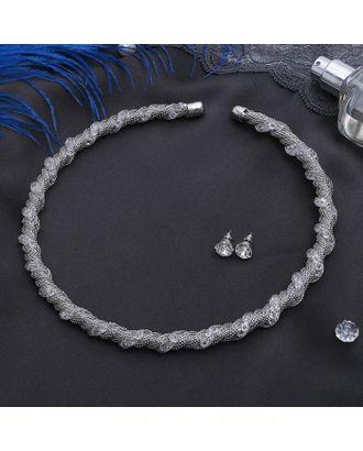 """Набор 2 предмета: серьги, колье """"Стардаст"""" ноэль, волна, цвет белый в золоте арт. СМЛ-20555-1-СМЛ2347223"""
