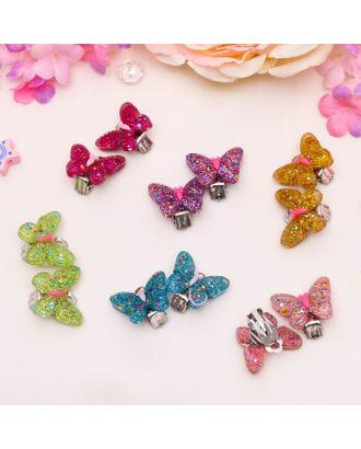 """Клипсы детские """"Выбражулька"""" бабочка блестящая, цвет МИКС арт. СМЛ-28972-1-СМЛ2351332"""