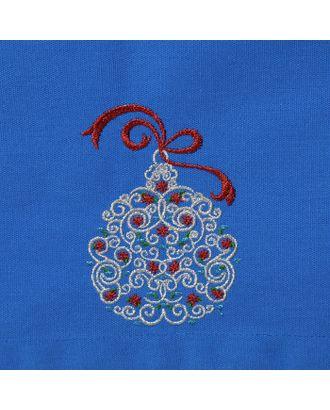 "Дорожка на стол ""Этель"" Новогодний шар. 140х40 цвет синий, с ВМГО хл, 200 гр/м² арт. СМЛ-20444-1-СМЛ2448338"