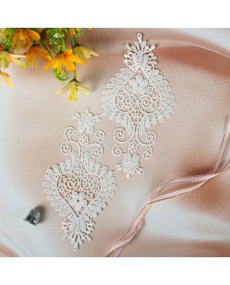 Аппликации пришивные «Лейсы», 16,5 × 8 см, пара, цвет белый арт. СМЛ-4874-1-СМЛ2455135