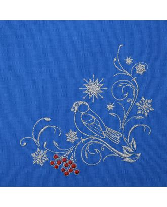 """Дорожка на стол """"Этель"""" Снегири, 140х40 цвет синий, с ВМГО хл, 200 гр/м² арт. СМЛ-20445-1-СМЛ2457540"""