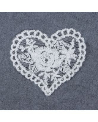 Вязаные элементы «Сердца», 6 × 5,5 см, 10 шт, цвет белый арт. СМЛ-5036-1-СМЛ2491704